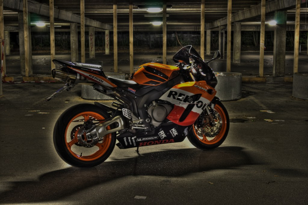 HDR image of my Honda CBR 1000 RR FireBlade SC57 below the parking deck of the CAU Kiel