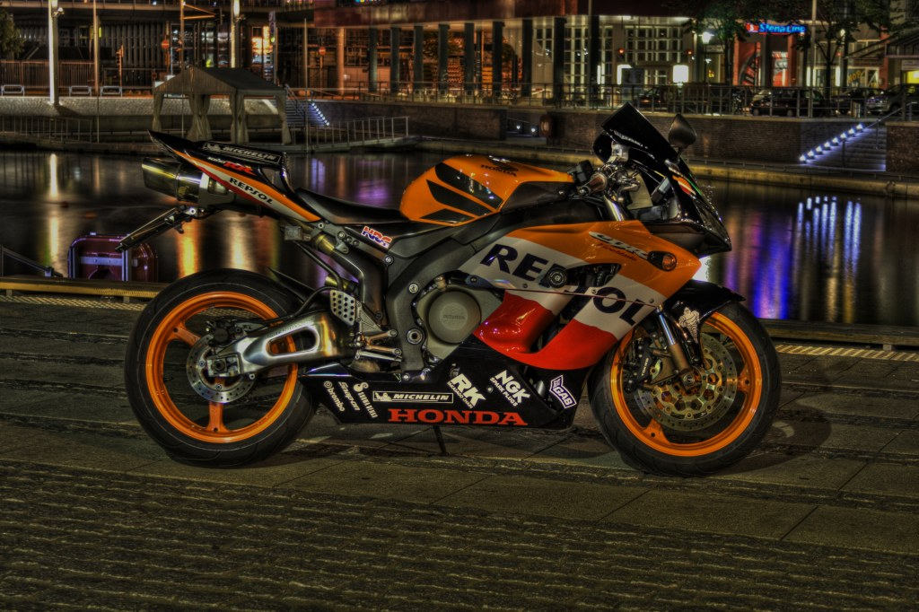 HDR image of my Honda CBR 1000 RR FireBlade SC57 at the _old boot-harbour_ in Kiel